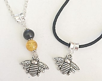 Bumble Bee Necklace Pendant, Honey Bee Necklace Charm, Insect Necklace Cord, Summer Necklace, Bumblebee Jewelry For Her, Insect Jewelry