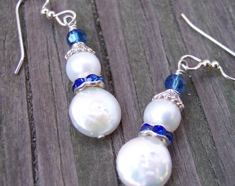 Snowman Earrings, Pearl Earrings, Blue Snowman, Little Boy Blue, Silver Snowman, Gift for Grandma, Christmas Gift for Her, Holiday Jewelry