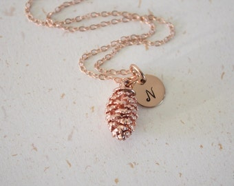 Rose Gold Pinecone Personalized Initial Leaf Necklace, Real Leaf, Charm, Monogram, Initial Jewelry, Bridesmaid Gift, Christmas Gift