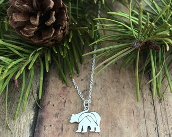 Bear, Mountain Necklace, Sterling Silver Bear, Mountains and Sun Necklace