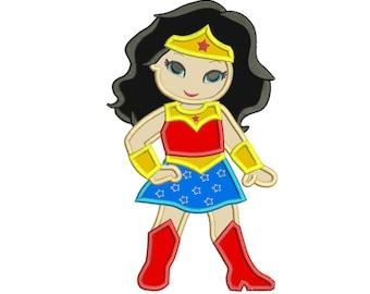 Wonder Woman Applique Design 3 sizes for Instant Download