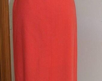 Pendleton Pencil  Midi Skirt Coral Orange with fuchsia blend.  Waist 28