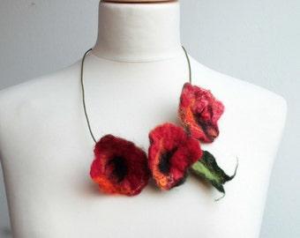 Red Poppy Flower Necklace Summer Jewelry Fiber Felt Necklace Poppies Deep red Crimson Blooming poppy field