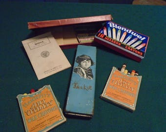Back To School Lot of Old Jackie Coogan Pencil Box and Old Boxes of Crayons