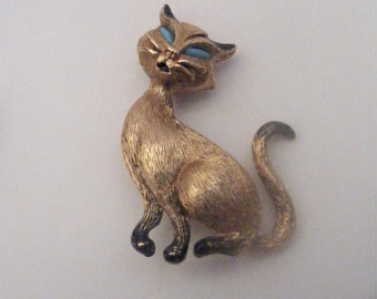 Vintage Gold Tone Kitty Brooch