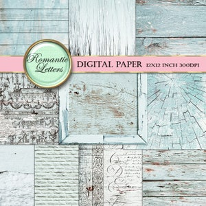 Digital scrapbook paper pack newborn photography background paper pastel Shabby Chic product photography scrapbook background white wood