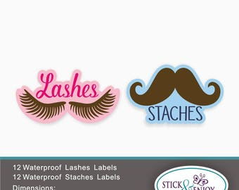24 Gender Reveal Party Stickers, Lashes or Staches, Shaped Waterproof Stickers, Waterproof Labels.