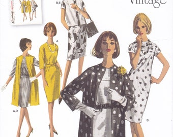 FREE US SHIP Simplicity 1284 Vintage Retro 1960s 60s Kimono Dress Coat Ensemble Reproduction Sewing Pattern Uncut Size 6-22 Bust 30-44 Plus