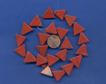 Strand of 16mm Triangle Beads: Red Jasper