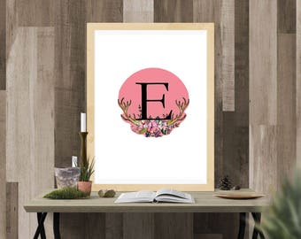 Letter E Whimsical nursery Whimsical accents Whimsical girl art pink print pink printable art pink wall art pink wall print pink wall decor