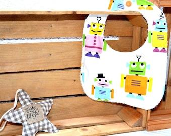 Terry cloth bib with robots