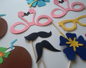 Photobooth accessories x 12 flamingos coco nut, mustaches, lips, flowers