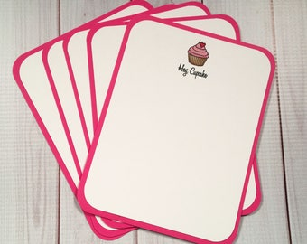 Hot Pink / White Pink Sparkle Cupcake / Thank You / Flat Note Card Set of 5