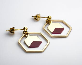 Red and gold Hexagon earrings