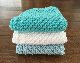 dish cloth, spa wash cloth, knitted cotton washcloth, spa set, gift for her, stocking stuffer, exfoliating cloth, cooking club, chef gift