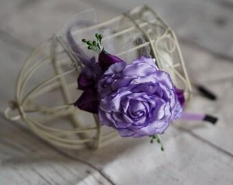 Purple Headband, Purple Flower Headband, Lilac Headband, Purple Bridal Headband, Flower Girl Tiara, Purple Wedding Headband