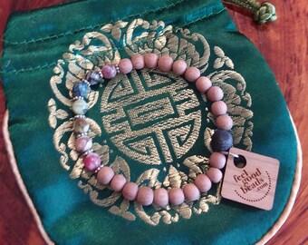 Rosewood and Glass Bead Chakra Bracelet