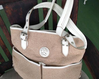 Relic woven and white leather shoulder tote like handbag