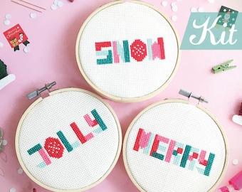 Cross stitch kits modern christmas diy tree ornament cross stitch modern Christmas cross stitch Xmas DIY kits - Geometric Christmas words