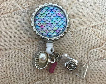 Mermaid Retractable Badge Reel with shell charm
