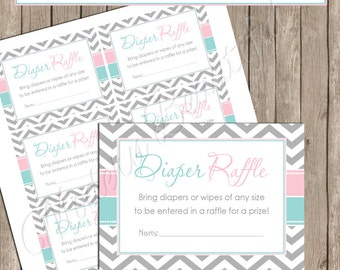"""Diaper Raffle- Pink and Blue Gender Reveal """"Diaper Raffle Card"""" - Baby Shower Invitation Insert Card - GenderReveal1  INSTANT DOWNLOAD"""