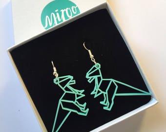 acrylic earrings, T-Rex earrings, dinosaur earrings, statement earrings, mint green, laser cut, dangle earrings, green, plastic earrings