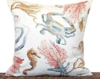 Coastal Pillow Cover Cushion Seashells Seahorse Sea Coral Octopus Crab Beach Summer Beige Blue Red Brown Decorative Repurposed 18x18