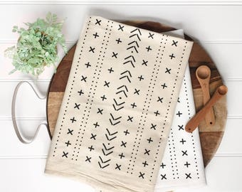 Tea Towel - Mudcloth Tea Towel Kitchen Towel Flour Sack Towel Boho Style Bohemian Chic Neutral Decor Farmhouse Decor Farmhouse Towel