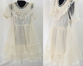 1950s Girls White Crinoline and Lace First Communion/Flower Girl Dress by A Hollywood Creation