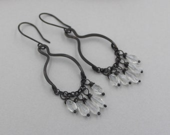 Crystal Chandelier Earrings with Oxidized Silver, Big Artisan Dangle Clear Crystal and Black Silver Hoops with Chain, Sterling Silver