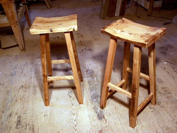 Reclaimed Wood Saddle Stools