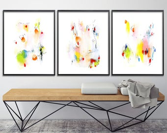 Abstract Painting. Set of 3 GICLEE PRINTS. Colorful yellow pink green orange, modern painting 8x10 or 11x14