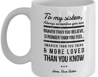 To My Sister More Loved Than You Know Love, Your Sister Gift Mug