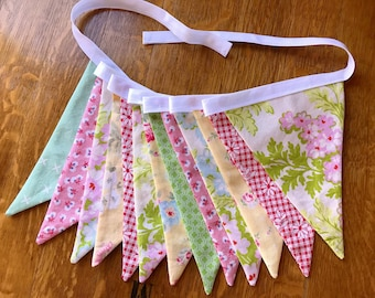 Fabric Bunting in Spring Colors Fabric Banner, Photo Prop Cottage Chic Home Decor Floral Bunting Ready to Ship