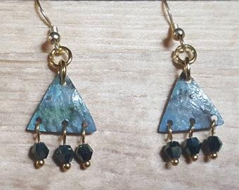 Watercolor earrings Waterfall Dangly Blue Green Gold