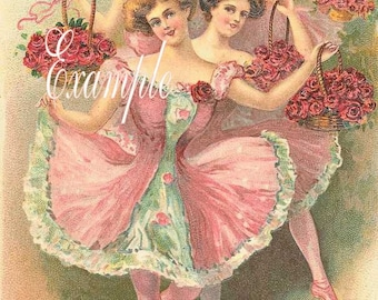Fabric blocks,Ballerinas many in pink,Two 5x7 inch fabric blocks Gorgeous,Sewing,Quilting,Free shipping worldwide