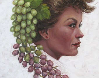 Portrait Of A Beautiful Woman With Grapes - Oil Painting On Canvas, 50x40 cm/ Frau Mit Weintrauben - Ölgemälde Auf Leinwand, 50x40 cm