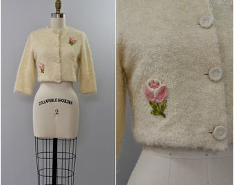 1960's nubby knit cropped rose jacket • xs