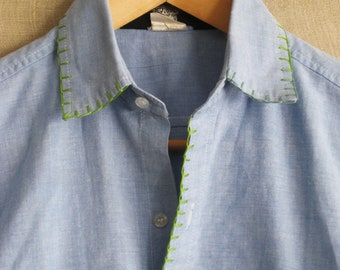 Vintage Hand Embroidered Chambray Shirt, Faded Denim, Mens Medium, Baby Blue, Blanket Stitch, Handmade, Boho Chic, Hippy, Preppy Clothes