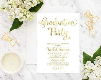 Gold Graduation Invitation Printable, Graduation Announcement, College Graduation Invitation, High School Graduation Invitation Printable