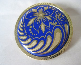 Flower Blue Gold Brooch Vintage Pin Round