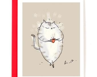 Coffee Cat Card - Cafe Cat - Cat Card