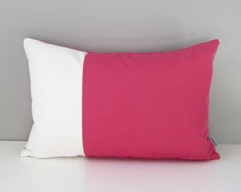 Pink & White Outdoor Pillow Cover, Decorative Pillow Case, Modern Color Block, Throw Pillow Case, Bubblegum Pink Sunbrella Cushion Cover