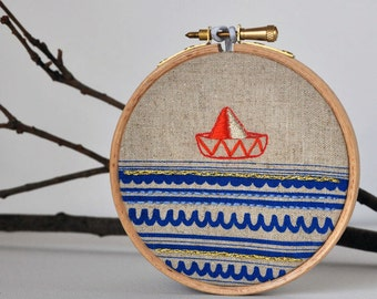 round dream Sailboat 5 - embroidery art - hanging wall (4'' diameter)