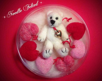 Needle Felted Valentine's Teddy with Hearts Set-Miniature Teddy Ornament with Six Needle Felted Heart Ornaments