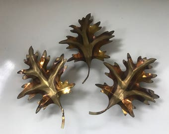 3 Vintage Metal Leaves Gold Copper Tone Wall Decor