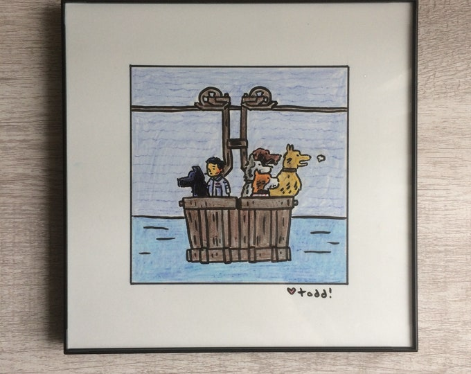 """Isle of Dogs - Atari and dogs in cart, Original Drawing, 8"""" x 8"""", Art, Pop Culture, Ink and Crayon, Wall Decor, Toddbot, Wes Anderson"""