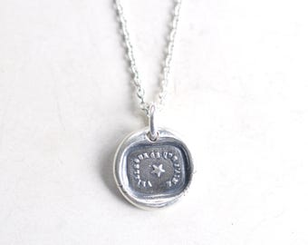 star wax seal necklace pendant … watch over my loved ones - French motto - gift of love - fine silver antique wax seal jewelry