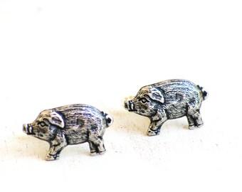 Hog Cuff Links, Pig Cuff Links, Courntry Wedding, Gift for Him, Farmer, Silver Boar Cufflinks, Razorbacks, Go Hogs, Father's Day Gift,