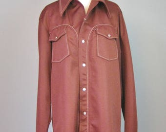 Western Shirt / Vtg 70s / Time Out West Warm Brown Snap Front Western Shirt / Mens or Womens